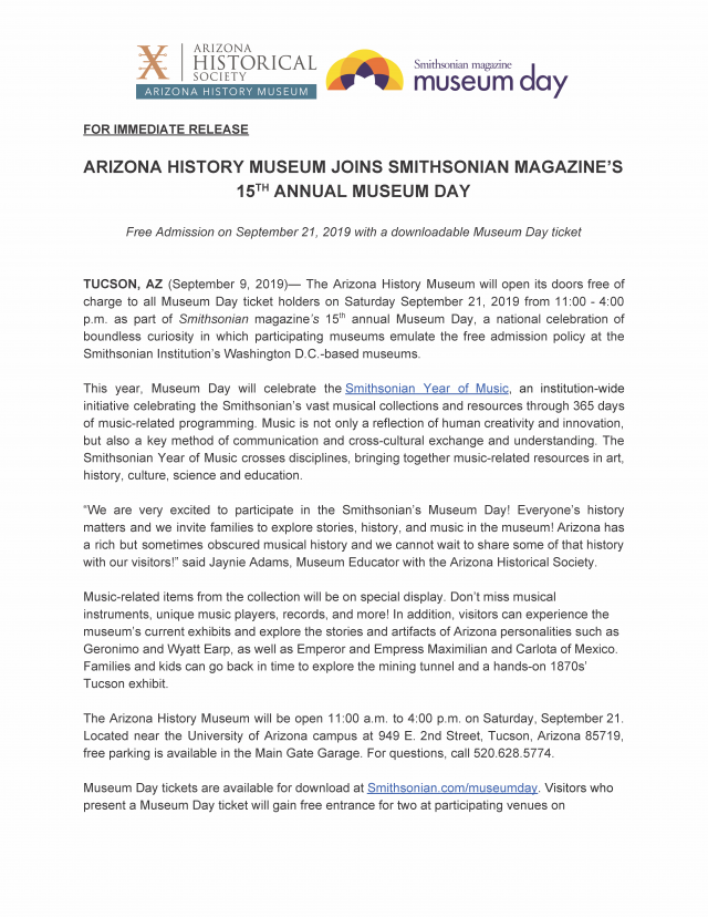 ARIZONA HISTORY MUSEUM JOINS SMITHSONIAN MAGAZINE'S 15TH ANNUAL MUSEUM DAY