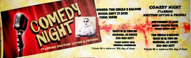 COMEDY NIGHT at Circle S Saloon!  starring KRISTINE LEVINE & Friends!