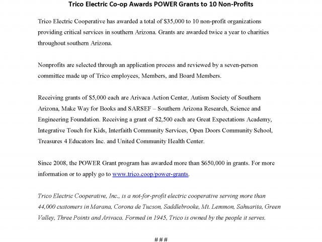 Trico Electric Co-op Awards POWER Grants to 10 Non-Profits