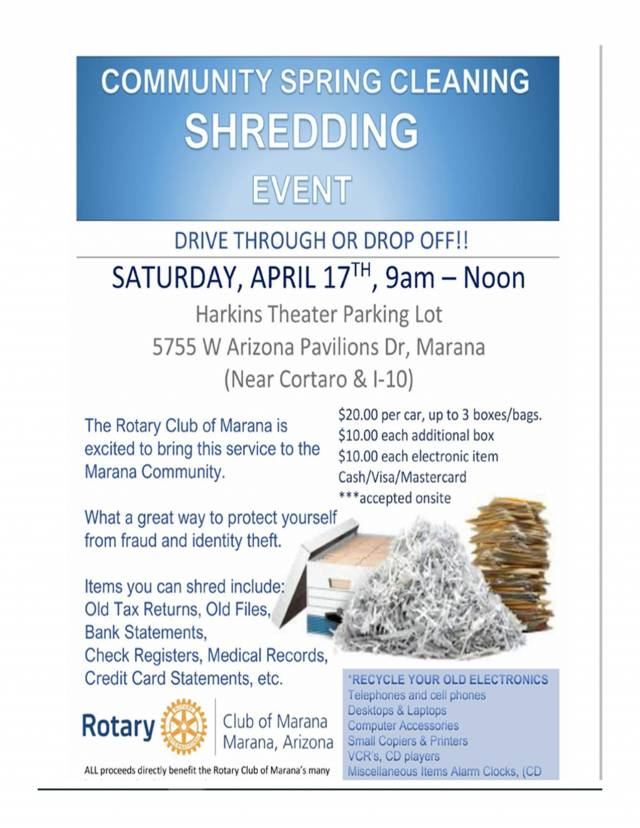 The Marana Rotary Club Community Spring Cleaning Shredding Event